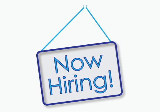 now hiring sign blue